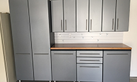 Graphite grey with white slat wall and bamboo countertop